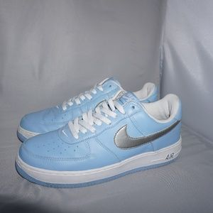 2004 Nike Air Force 1 Low Blue Cap Silver Size10.5
